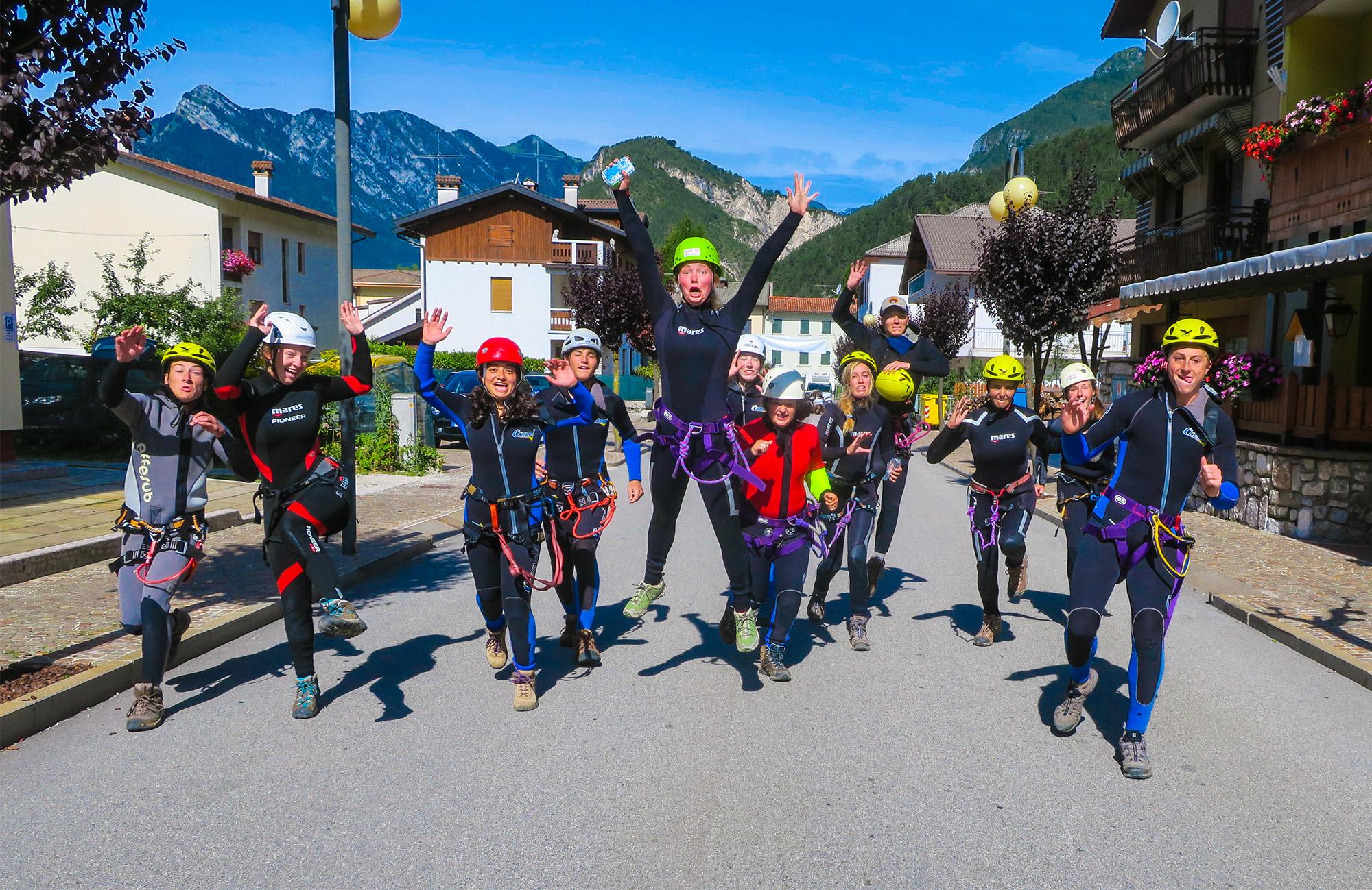 canyoneering on teen summer camp in italy