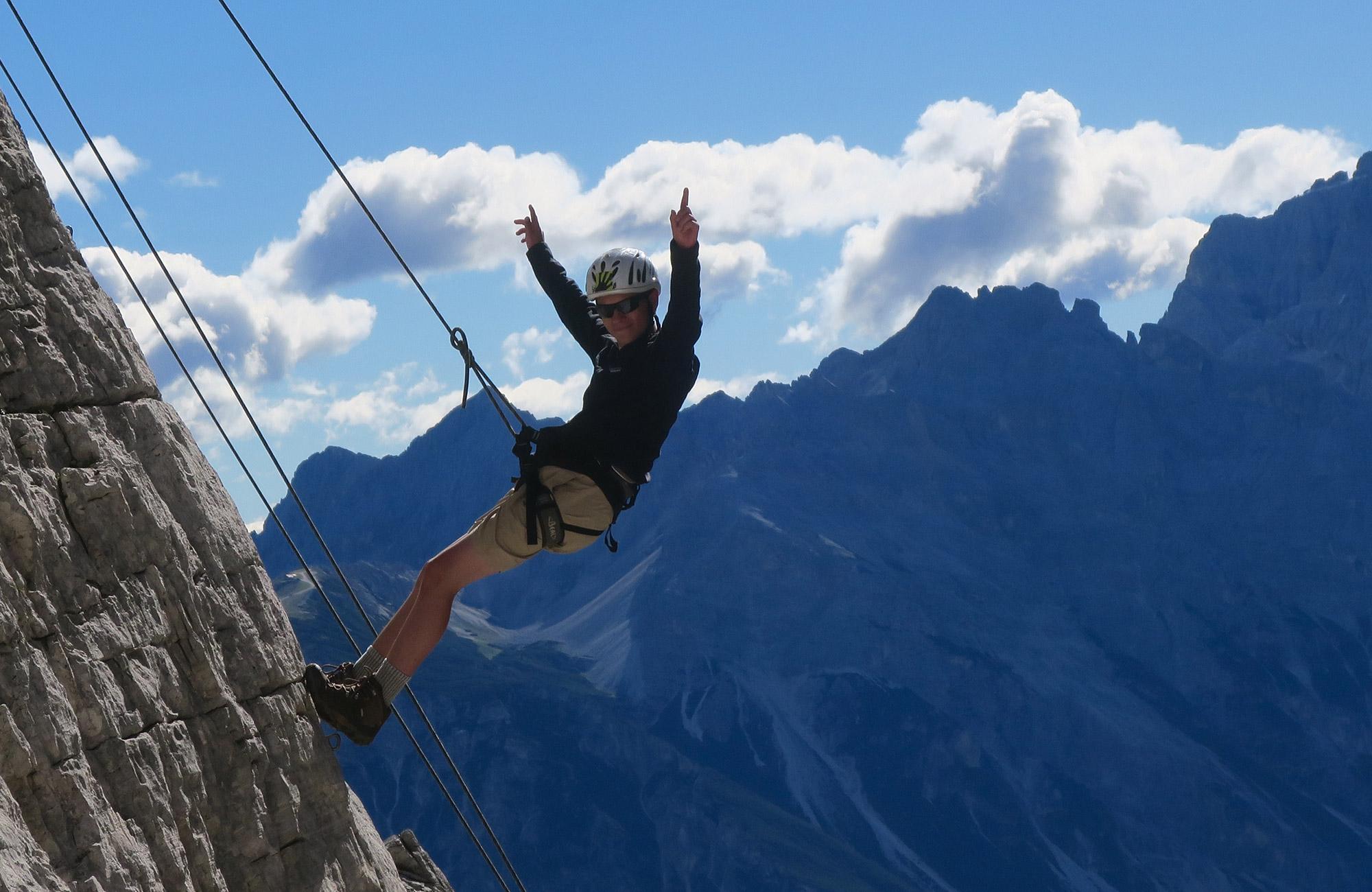 climbing in italy on teen summer trip