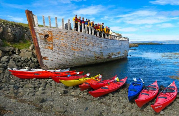 iceland kayaks on land